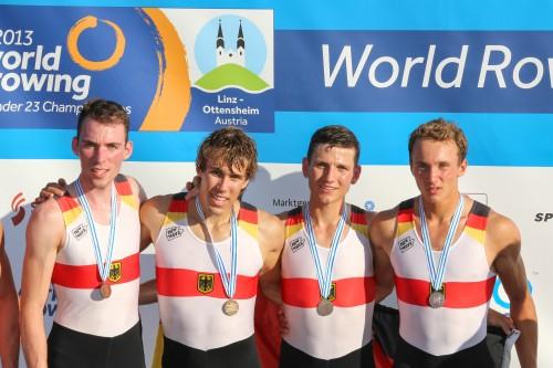 Bronze für Florian Roller und seine drei Mannschaftskollegen bei den U23-Weltmeisterschaften in Linz (Österreich) 2013 Foto: Oliver Quickert (www.rudern.de)
