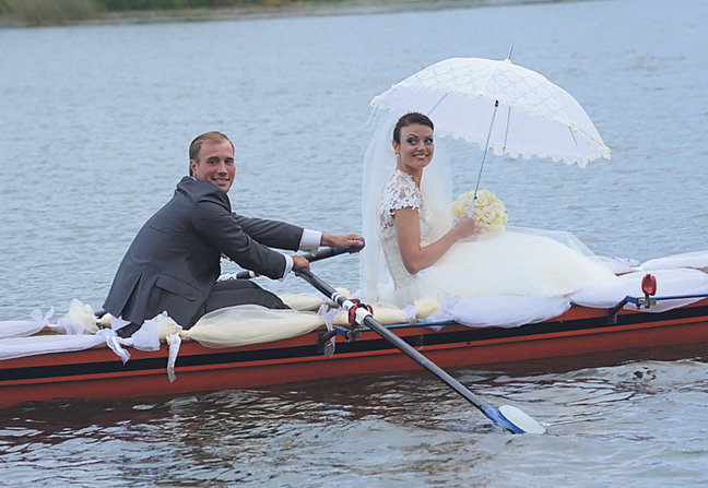 Gig-Doppelzweier Neckar als Hochzeitsboot in Estland unterwegs