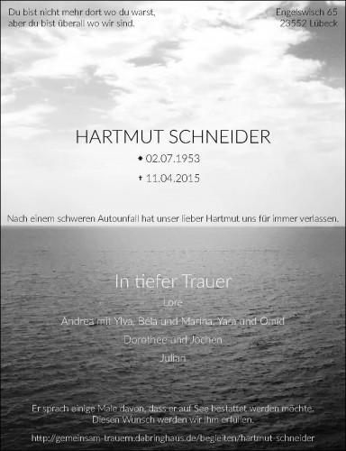 Traueranzeige von Hartmut Schneider