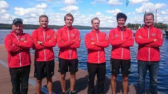 v.l.n.r.:  Martin Strohmenger (Trainer), Patrik Stöcker (Bug), Florian Roller, Johannes Ursprung, Cedric Kulbach (Schlag), Ralf Hollmann (Bootstrainer)